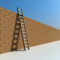 Steep ladder leaning against high wall