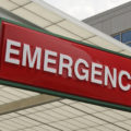 Red emergency room sign