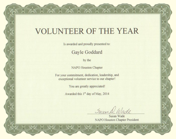 NAPO Houston Volunteer of the Year Award Certificate