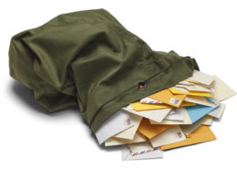 Mail bag with mail spilling putt