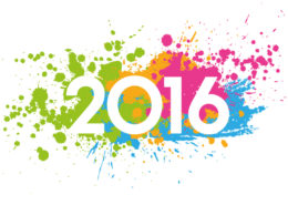 2016 date on paint-splashed background