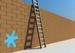 Ladder against high wall