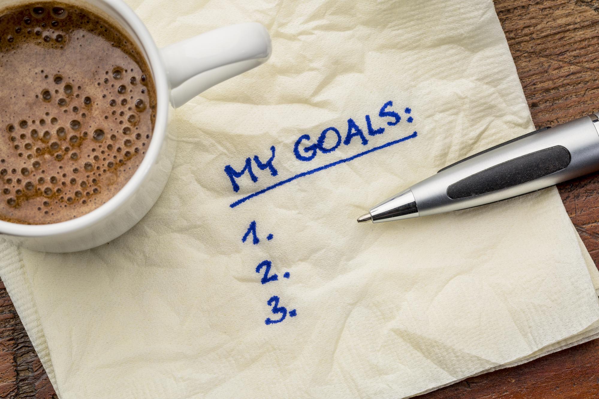 Goals list on napkin