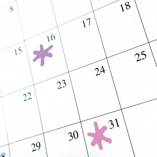 Calendar with two dates highlighted