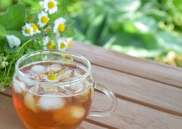 Iced tea at the picnic table