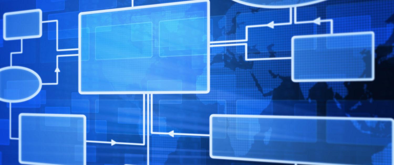Blue flowchart concept